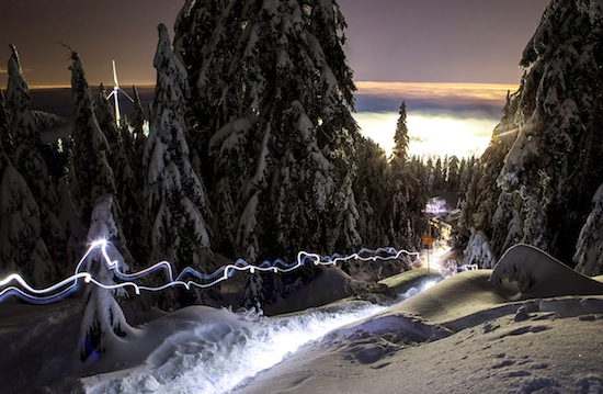 snowshoe vancouver night